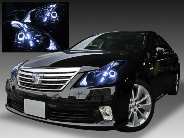 200系クラウン ハイブリッド ドレスアップヘッドライト 純正加工品 LEDイカリング&白色高輝度LED&ブラック 仕様