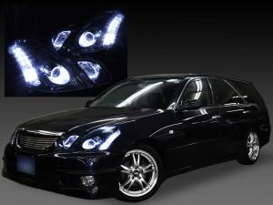 110系マークⅡブリット 前期 ドレスアップヘッドライト  ブラッククロム&イカリング&クリア&増設LED24発 仕様