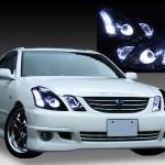 GX110W/GX115W/JZX110W/JZX115W マークⅡ ブリット 前期 ブラック&増設ホワイトLED&LEDイカリング ヘッドライト