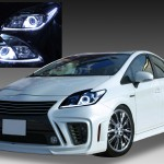 トヨタ 30系 プリウス 前期/後期 全年式対応 (後期 純正HIDロービーム車 ヘッドライト) 純正ドレスアップヘッドライト 白色LEDイカリング&高輝度白色LED12発増設&純正ラインポジション白色LED色替え&インナーブラッククロム