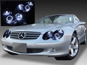 メルセデス・ベンツ R230 純正日本ディーラー車取外し品 純正ドレスアップヘッドライト 2連LEDイカリング&高輝度白色LED6発増設&インナーブラッククロム