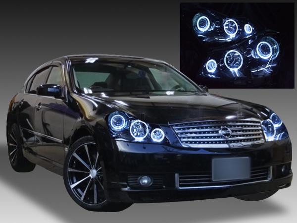 日産 Y50フーガ XV系 純正HID用 AFS有り車用 純正ドレスアップヘッドライト 6連LEDイカリング&インナーブラッククロム