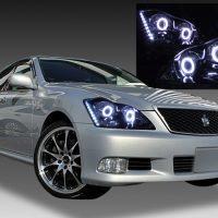 GRS18系クラウン アスリート 純正HID車用 前期/後期 純正ドレスアップヘッドライト Wバイキセノンプロジェクター&4連CCFLイカリング&高輝度白色LED18発増設&インナーブラッククロム