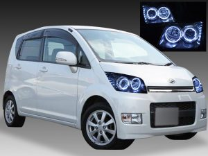 ダイハツ L175S/L185S系 ムーブカスタム 前期 純正HID車用 純正ドレスアップヘッドライト 4連LEDイカリング&超高輝度白色LED16発増設