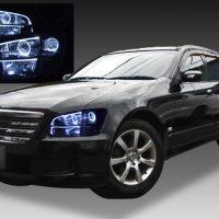 日産 M35 ステージア 後期 純正HID車用 純正ドレスアップヘッドライト 4連LEDイカリング&LEDアクリルイルミファイバー&インナーブラッククロム&ウインカークリア加工