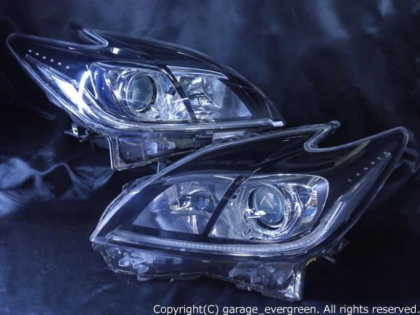 トヨタ 30系 プリウス 後期 純正HID車用 純正ドレスアップヘッドライト 白色LEDイカリング&高輝度白色LED12発増設&純正ラインポジション白色LED色替え