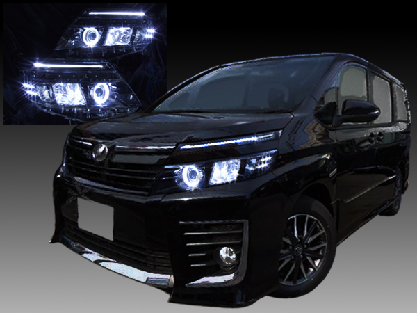 トヨタ ZZR80系 ヴォクシー 純正LEDロービーム車用 純正ドレスアップヘッドライト LEDイカリング&高輝度白色LED12発増設&Hi部間接照明&純正ラインLEDポジション 白色LED打替え