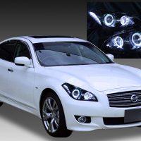 日産 Y51フーガ/Y51シーマ 純正HID車用 AFS有り 純正ドレスアップヘッドライト 4連LEDイカリング&高輝度白色LED12発増設&インナーブラッククロム