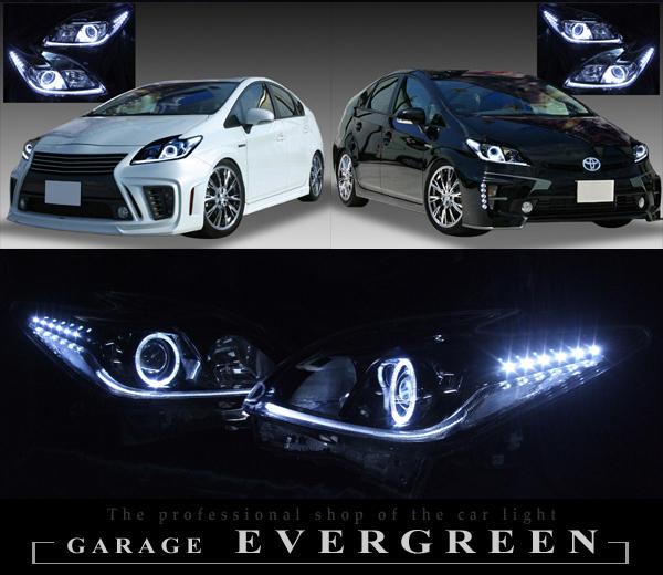 トヨタ 30系 プリウス 後期 純正HID車用 純正ドレスアップヘッドライト 白色LEDイカリング&高輝度白色LED12発増設&純正ラインポジション白色LED色替え&インナーブラッククロム