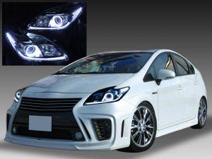 トヨタ 30系 プリウス 後期 純正HID車用 純正ドレスアップヘッドライト 白色LEDイカリング&高輝度白色LED12発増設&純正ラインポジション白色LED色替え&インナーブラックトヨタ 30系 プリウス 後期 純正HID車用 純正ドレスアップヘッドライト 白色LEDイカリング&高輝度白色LED12発増設&純正ラインポジション白色LED色替え&インナーブラッククロム クロム