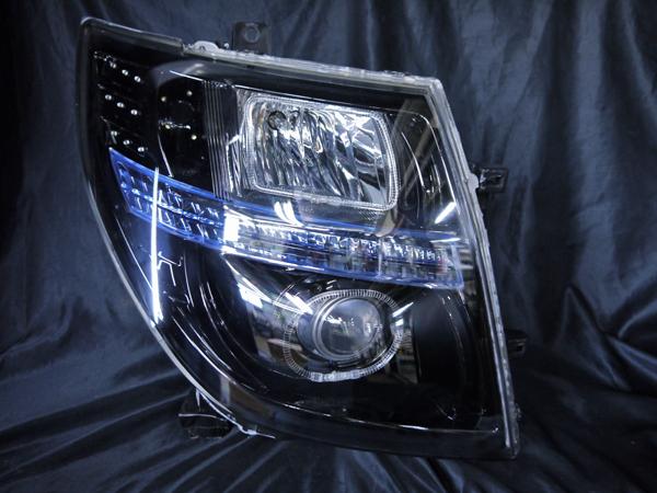 日産 E51系 エルグランド 中期/後期 純正HID車 AFS仕様車用 純正ドレスアップヘッドライト 4連LEDイカリング&高輝度白色LED44増設&インナーブラッククロム