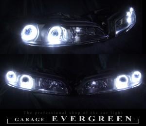 S15シルビア クリスタルヘッドライト 純正加工 ハロゲン車ベース 4連白色LEDイカリング 仕様