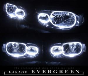 Z12キューブ CUBE ハロゲン車用 ヘッドライト 純正加工 インナーブラックベース 4連高輝度LEDイカリング 仕様
