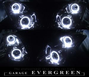 ZC31S スイフト スポーツ HID車用 クリスタルヘッドライト 純正加工 インナーブラックベース 高輝度白色4連LEDイカリング 仕様
