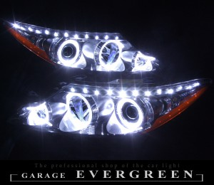 ★50 エスティマ 中期後期★高輝度白色LEDイカリング6連装&高輝度白色LED レンズクリーニング・コーティング済み オーダー加工ドレスアップヘッドライト