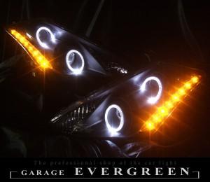 ★Z50 ムラーノ★高輝度白色LEDイカリング4連装&高輝度橙色LED増発 インナー艶消しブラック塗装仕様 レンズクリーニング・コーティング済み オーダー加工ドレスアップヘッドライト