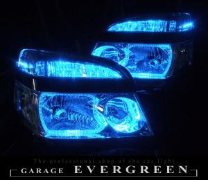 ★60 ヴォクシー 後期★高輝度青色LEDイカリング4連装&高輝度青色LED増発 レンズクリーニング・コーティング済み オーダー加工ドレスアップヘッドライト