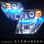 ★E51 エルグランド 後期★高輝度LED&白色LEDイカリング4連装 社外プロジェクターインストール仕様 レンズクリーニング・コーティング済み オーダー加工ドレスアップヘッドライト