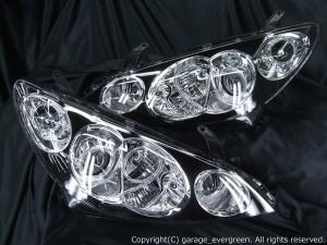 ★10 エスティマハイブリット 前期★高輝度白色LEDイカリング8連装&インナーブラッククロム塗装特別仕様 レンズクリーニング・コーティング済み オーダー加工ドレスアップヘッドライト