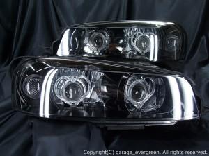 ★R34 スカイライン★高輝度LEDイカリング4連装&インナーブラッククロム塗装 社外ダブルプロジェクターインストール仕様 レンズクリーニング・コーティング済み オーダー加工ドレスアップヘッドライト