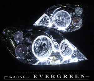★P12 プリメーラ★高輝度白色LEDイカリング4連装仕様 レンズクリーニング・コーティング済み オーダーLED加工ドレスアップヘッドライト
