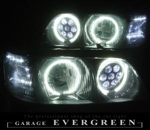 ★33 シーマ 前期後期★白色CCFLイカリング4連装&社外バルカンプロジェクターインストール&高輝度白色LED増設仕様 レンズクリーニング・コーティング済み オーダー加工ドレスアップヘッドライト