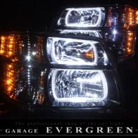 ★E50 エルグランド 後期★高輝度白色LEDイカリング4連装&高輝度橙色LED増発 インナーブラックメッキ塗装仕様 レンズクリーニング・コーティング済み オーダー加工ドレスアップヘッドライト