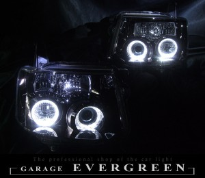 ★H82W ekスポーツ★高輝度白色LEDイカリング4連装&ウインカークリアレンズ仕様 レンズクリーニング・コーティング済み オーダーLED加工ドレスアップヘッドライト