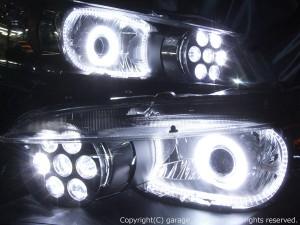 ★RN6 ストリーム★高輝度橙色LED&白色CCFLイカリング+LEDイカリング4連装 社外プロジェクターインストール&バルカンプロジェクター仕様 レンズクリーニング・コーティング済み オーダー加工ドレスアップヘッドライト