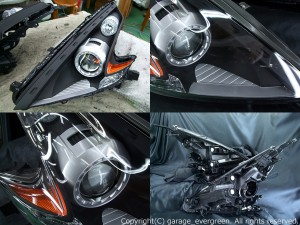 ★Z34 フェアレディZ★インナー艶消しブラック塗装特別仕様 レンズクリーニング・コーティング済み オーダー加工ドレスアップヘッドライト