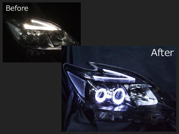 ZVW30系 プリウス 後期 LEDロービームヘッドライト 4連白色LEDイカリング&ポジション同色打ち替え 仕様
