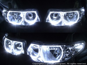 L375S/L385S タントカスタム 純正HID車用 4連イカリング&増設高輝度白色LED 仕様