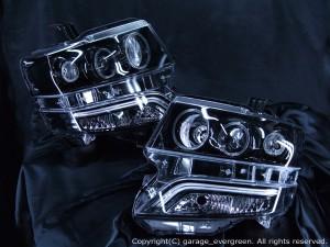 JF1/JF2 N BOX カスタム HID車用 ドレスアップヘッドライト  限定色ブラッククロム6連LEDイカリング 仕様