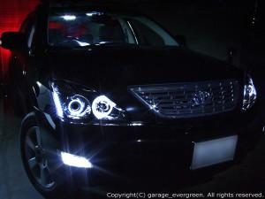 ACU/MCU/GSU 30系ハリアーAFS車用 ドレスアップヘッドライト インナーブラック&4連イカリング&増設白色LED