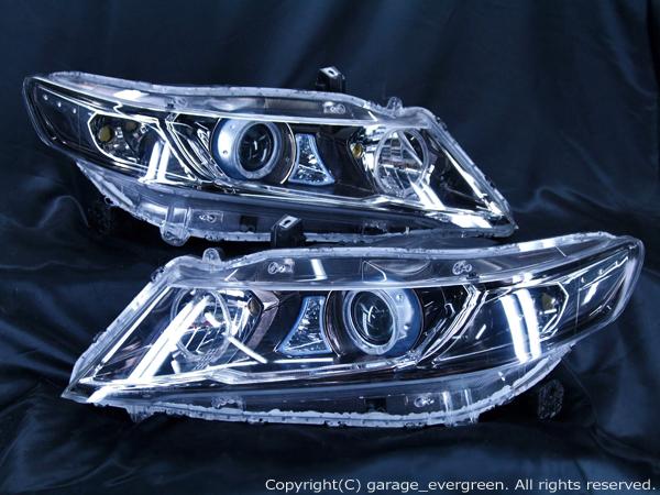 RB3/RB4 オデッセイ 前期ベース 4連LEDイカリング&増設サイドLED 仕様 純正加工 ドレスアップヘッドライト