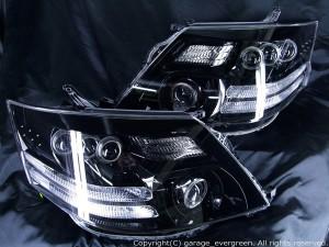10系アルファード 後期 HID/AFS車用 ヘッドライト 8連プロジェクター&8連LEDイカリング&ブラック仕様