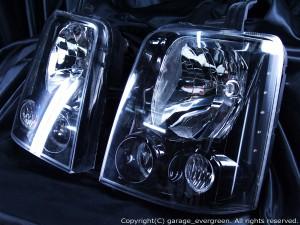 イカリング4連装&白色LED&ブラック仕様 限定色 インナーブラッククロム DA64W エブリィワゴン ハロゲン ドレスアップヘッドライト