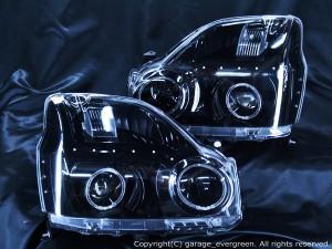 T31系 エクストレイル 前期 ドレスアップヘッドライト ブラック&4連イカリング&LED増設18発 仕様