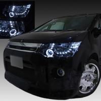 デリカ D:5 純正HID車用 ドレスアップヘッドライト 白色LEDイカリング&LED増設36発 仕様