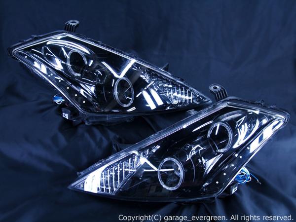 TZ50/PZ50/PNZ50 Z50ムラーノ ドレスアップヘッドライト 白色LED16発&ブラッククロム&4連イカリング 仕様