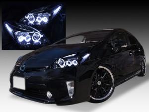 ZVW30系プリウス 前期 純正LEDロービーム車用 ヘッドライト インナーブラック塗装&6連イカリング&増設LED仕様