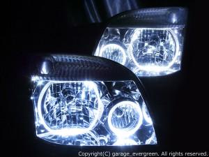 T30系 エクストレイルX-TRAIL ドレスアップヘッドライト クリスタル&4連イカリング 仕様