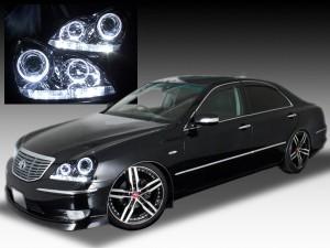 UZS18系 クラウンマジェスタ 4連イカリング&増設LED 仕様 ドレスアップヘッドライト