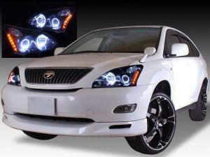 ACU/MCU/GSU 30系ハリアーAFS車用 ドレスアップヘッドライト インナーブラック&4連イカリング&増設オレンジLED