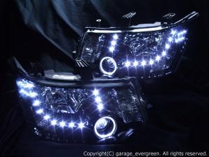 デリカ D:5 純正HID車用 ドレスアップヘッドライト 限定色 インナーブラッククロム  白色LEDイカリング&LED増設36発&ブラック 仕様