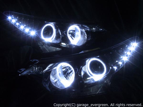 ACR/GSR 50W/55W エスティマ 前期 ドレスアップヘッドライト 限定色 インナーブラッククロム ブラック&4連白色イカリング&高輝度LED増設 仕様
