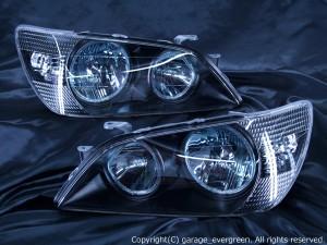 SXE10/GXE10 アルテッツァ 前期 ブルーメッキリフレクター 新品 純正メイクアップヘッドライト ベース ブラック&4連白色イカリング&ウィンカークリア 仕様