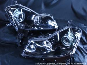 Y50フーガGT ハロゲンベース ドレスアップヘッドライト 限定色 インナーブラッククロム ブラックアウト&6連高輝度イカリング&サイドLED 仕様