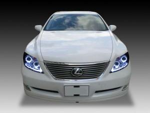 4連イカリング&増設LED&サイドマーカー塗装 限定商品 ブラックサイドマーカー 仕様 レクサス LS460前期 ■純正HID付■ ドレスアップヘッドライト