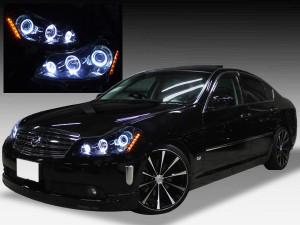Y50フーガGT ドレスアップヘッドライト 純正加工品 ブラック&6連イカリング&サイドオレンジLED 仕様
